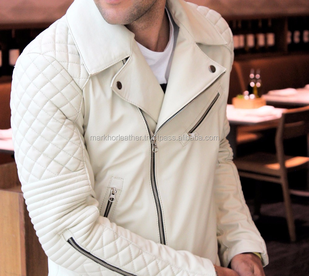 Leather Jacket in Calf leather Ivory / White Color Diamond Quilted shoulders- Mens 100% Real Leather