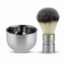 Shaving Brush with Double Layer Stainless Steel Shave Bowl Mug / 2 pcs shaving set