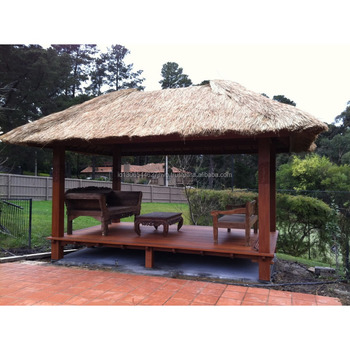 Manufacturing Solid Garden Wood Gazebo Bali Huts with Chairs and Table