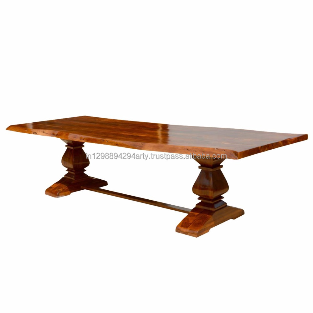 Modern Style Solid Sheesham Wood Eight Seater Live Edge Dining Table