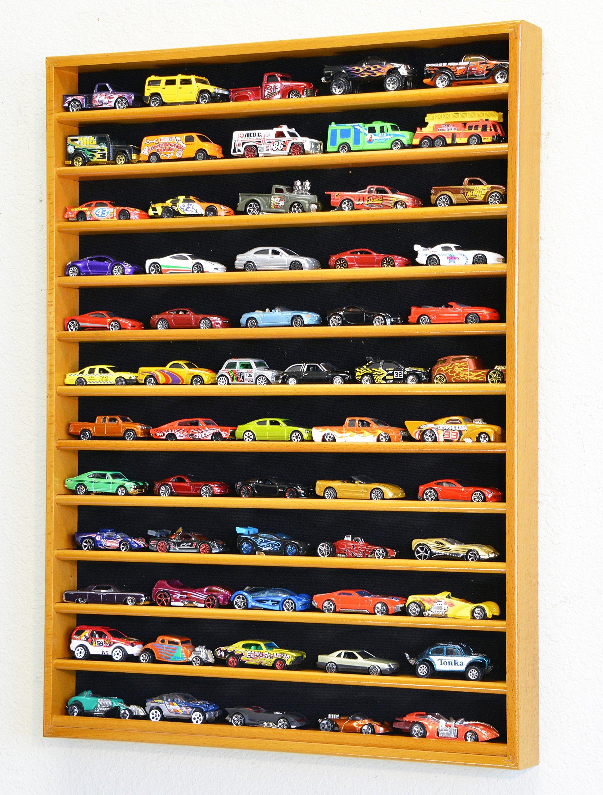 60 Hot Wheels Hotwheels Matchbox 1/64 Scale Diecast Model Cars Display Case - NO DOOR (Oak Wood Finish)