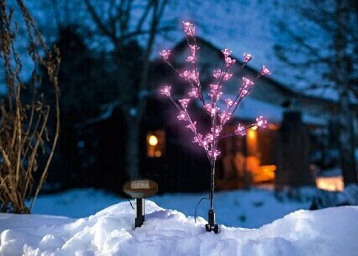 "Solar Cherry Blossom Christmas Xmas Tree Garden Led Light -18"" Inch Tall with 20 Pink Led Lights Flower"