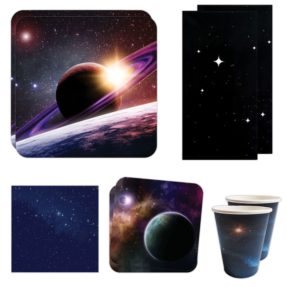 Blue Orchards Space Party Deluxe Party Packs (70 Pieces for 16 Guests!), Space Party Supplies, Galaxy Birthday