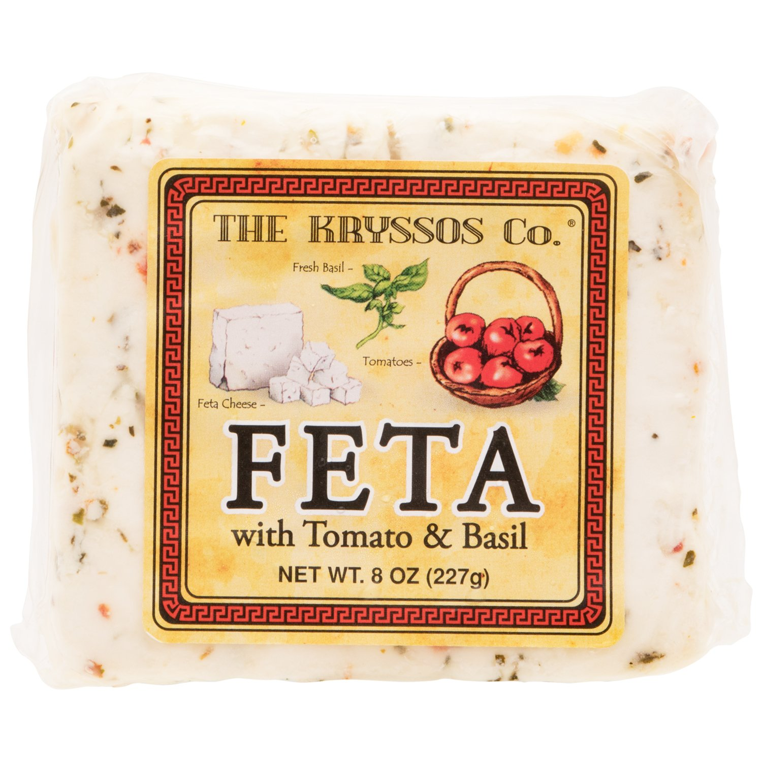 Kryssos Traditional Feta Cheese with Tomato and Basil, 8 oz