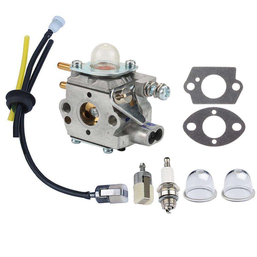 Panari Carburetor + Fuel Line Filter Spark Plug for ECHO Trimmer GT2400  SRM2400 SRM2410 SRM2450 PE2400