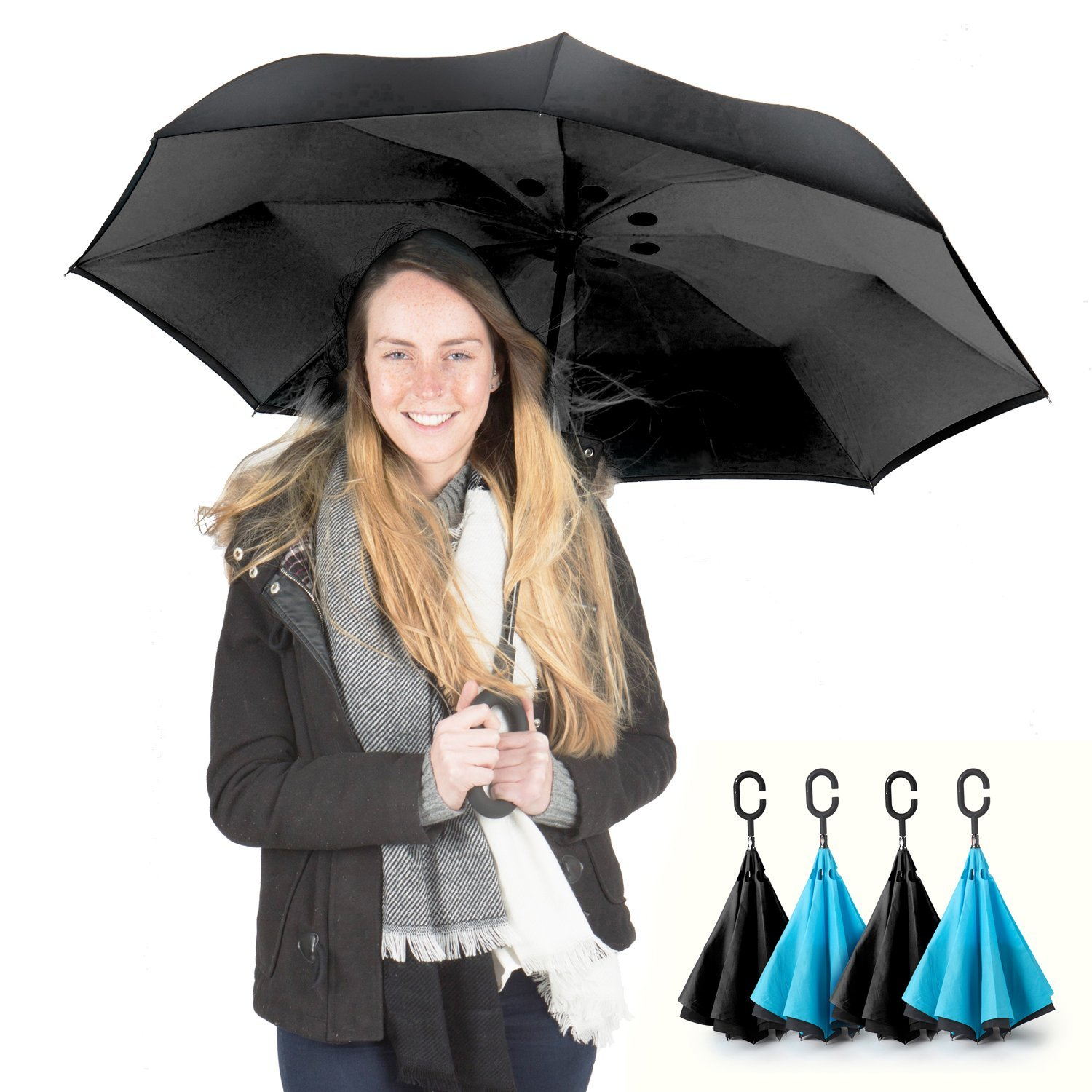 1 DAY SALE! PowerLix Inverted Umbrella - Double Layer Large Reverse Folding Umbrella for Car Rain Outdoor, Windproof, UV Proof - Hands Free C-Shaped Handle, Self-Standing – For men's and women's