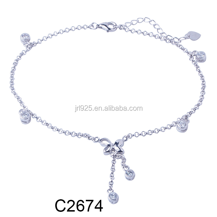 Fashion Jewelry Designer 925 Sterling Silver Diamond Butterfly anklet