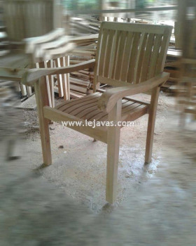 Teak Furniture Jepara - Almanu Stacking Arm Chair Outdoor Furniture
