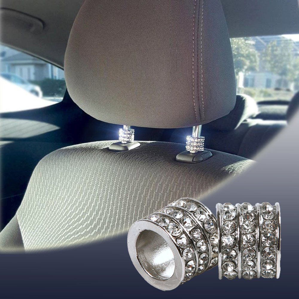 Bling Car Decor Icy Crystal Car Seat Headrest Decoration Charms, Bling Car Accessories For Women, Car Bling For Seat, Rhinestone Car Interior Accessories, Car Charms For Headrest Collars (Square 4pc)