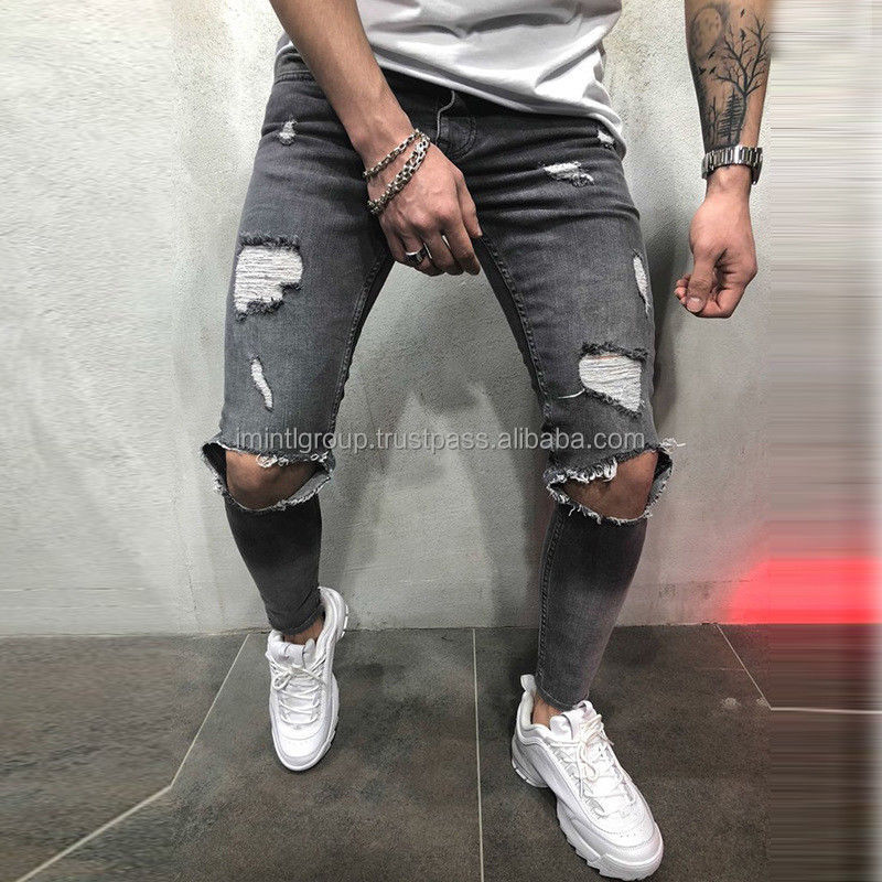 Mannen high street fashion denim broek