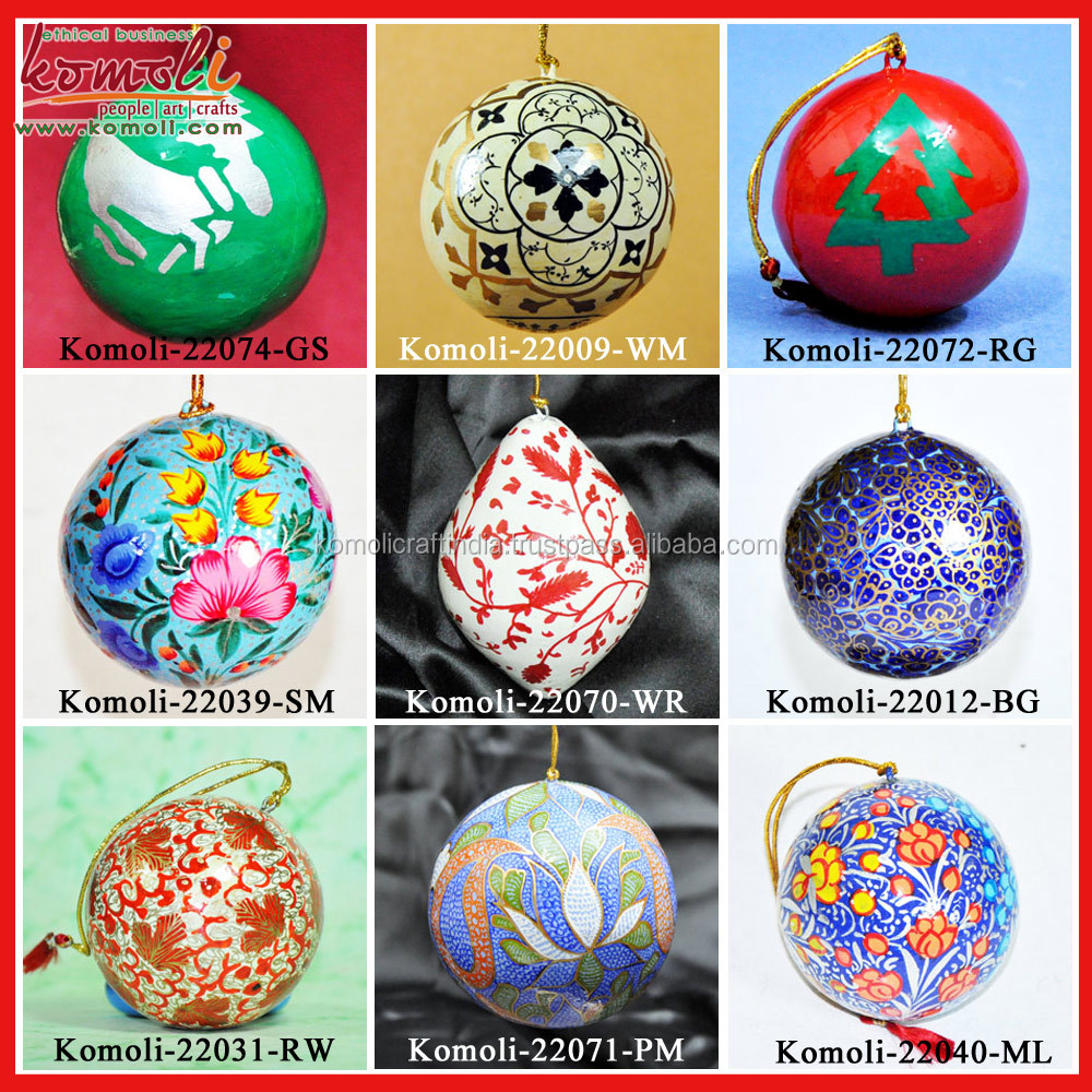 Hand Painted Wood Cutouts Tree Shape Indian Christmas Ornaments Xmas  Decoration
