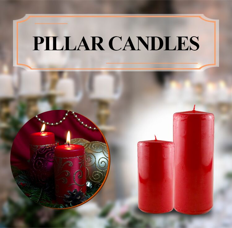 Home decoration long burning time pillar candle