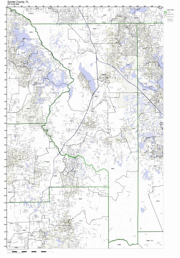 Sumter County, Florida FL ZIP Code Map Not Laminated