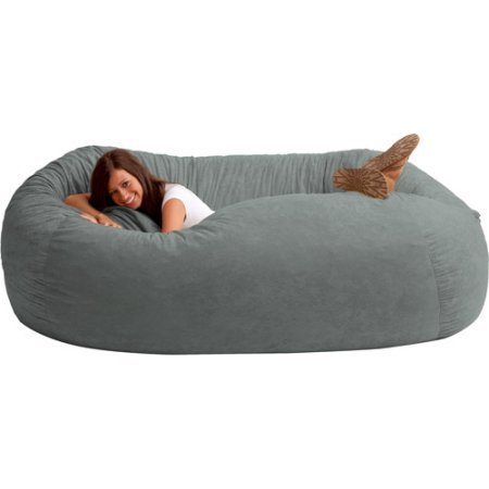 XXL Jumbo Memory Foam Bean Bag Chair, Super Soft and Long Lasting Fuf Foam, Comfort Suede Fabric, Round Shape, Relaxing Chair, Multiple Colors,Dorm, Home Furniture, BONUS e-book (Steel Grey)