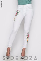 Womens Summer White Skinny Jeans with embroidery