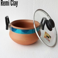 Indian Clay Veg Handi pot come stock pot with Glass Lid