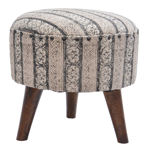 Peachy Printed Stripe Rug Upholstered Round Stool Ottoman With 3 Wooden Legs Pdpeps Interior Chair Design Pdpepsorg
