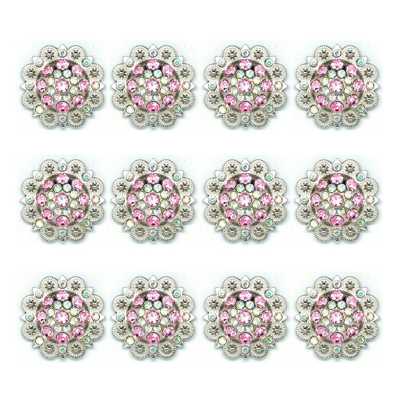 Rhinestone Covered Screwback Filigree Flower Bling Conchos