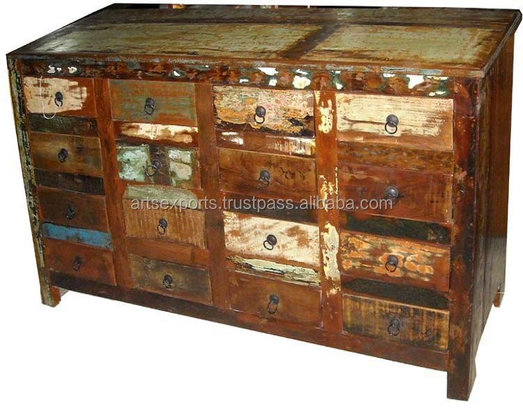 Antique Multi Drawer Wooden Chest