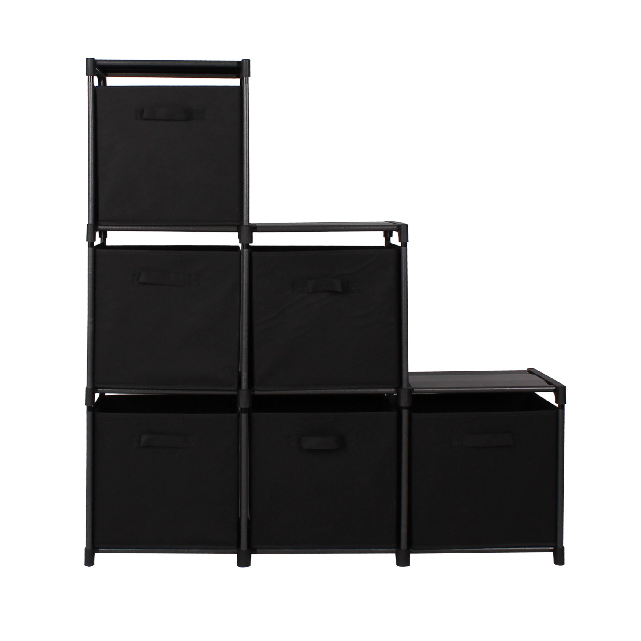 Get Quotations  C2 B Tier Storage Rack Bookcase Shelf Bundle With 6 Foldable Cube Storage Bins That Perfectly