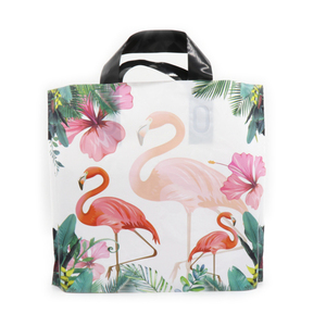 Promotional flamingo patterns cloth carrier bag shopping backpack bag for shopping