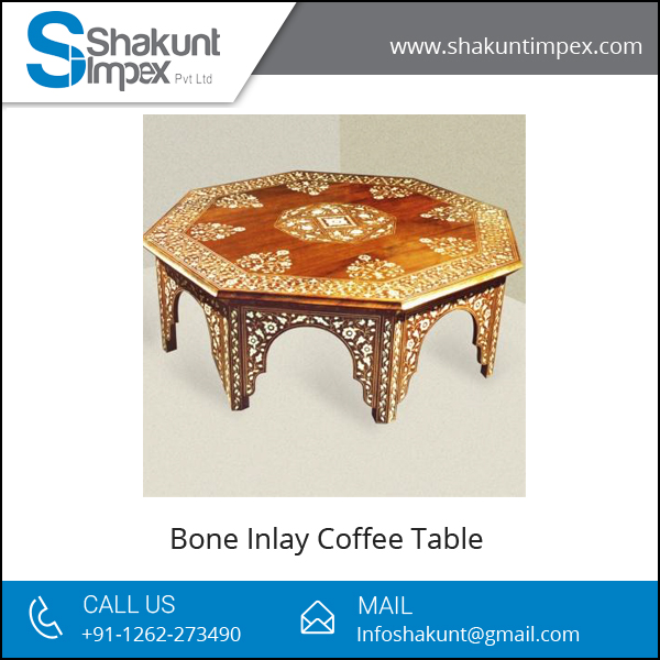 Moroccan Style Bone Inlay Coffee Table at Low Price