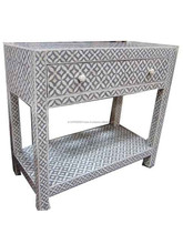 1 DRAWER WITH SHELF BONE INLAY CONSOLE TABLE