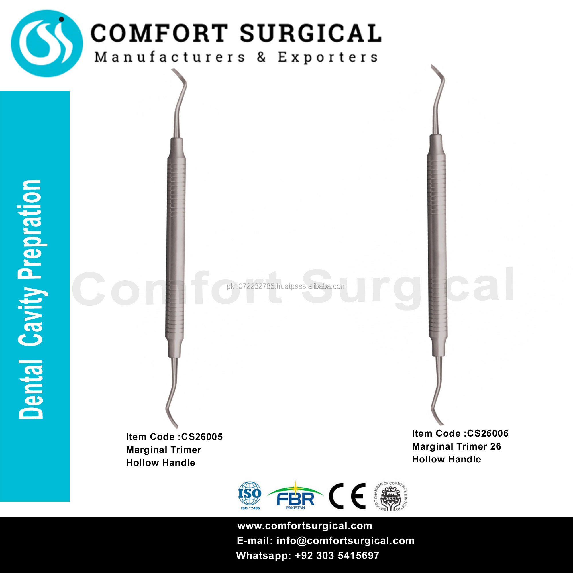 Dental Cavity Prepration Instruments Marginal Trimer 27, Marginal Trimer 26.Hollow Handle CE ISO 13485 Approved