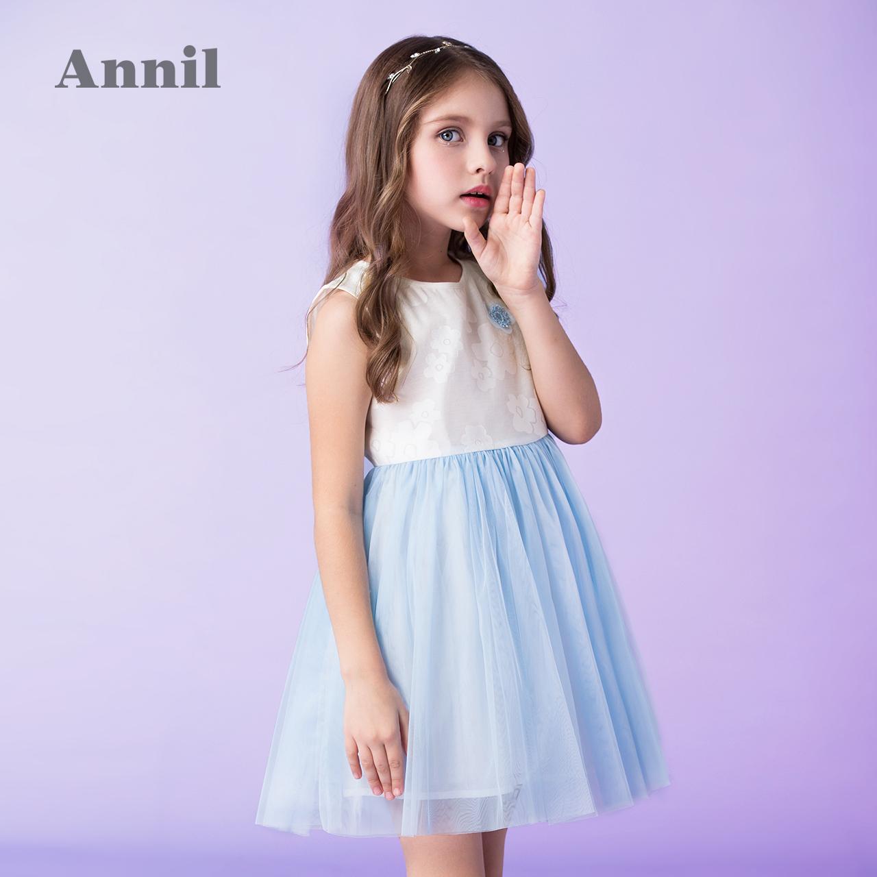 52637a1ef972 Annil 2019 Nova Flor Meninas Vestido Sem Mangas Colete Crianças Ocasião  Formal da Festa de Aniversário