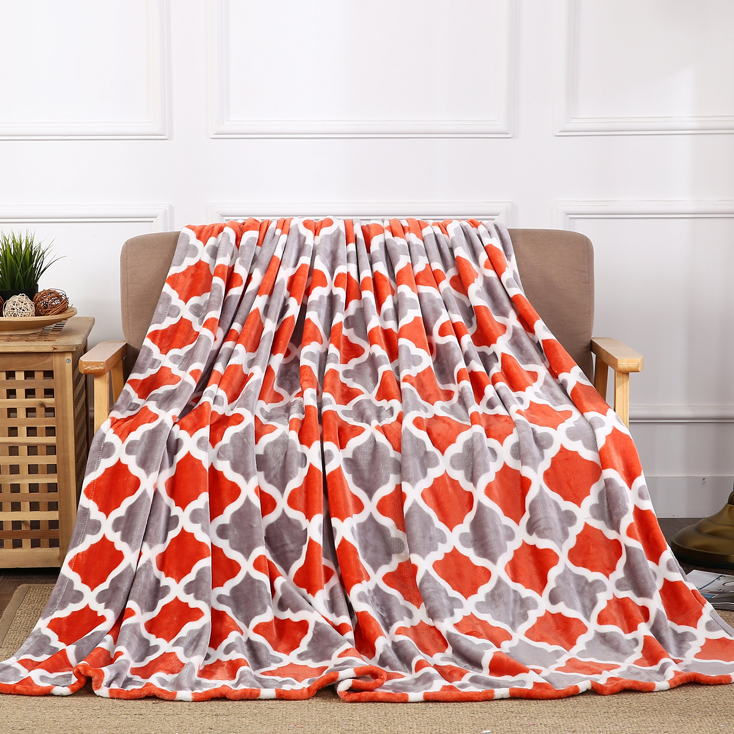 All American Collection New Super Soft Printed Throw Blanket (Throw Size, Orange/Grey Trellis)