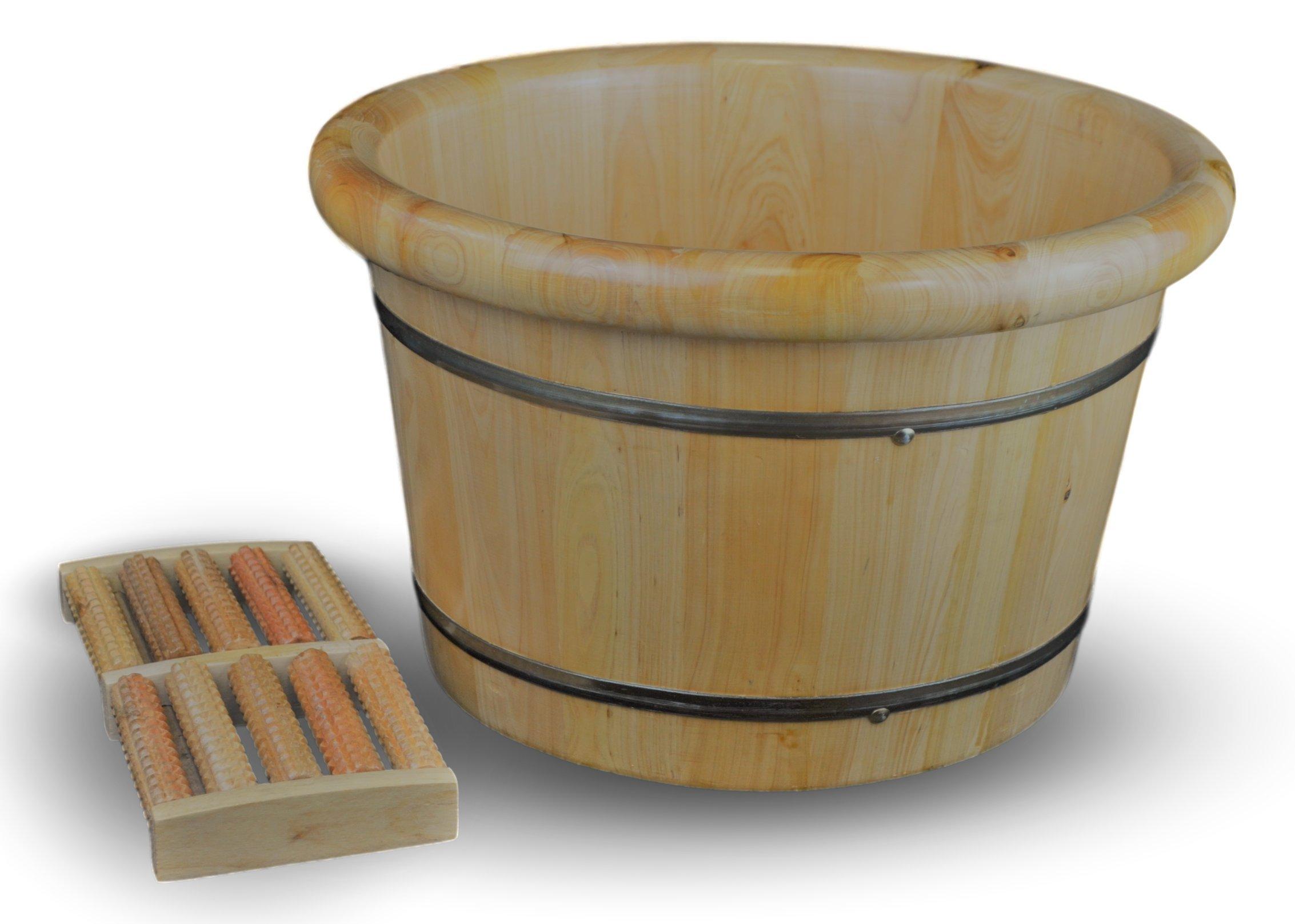 "Festcool 16"" Solid Cedar Wood Foot Basin Tub Bucket for Foot Bath, Soak, Massage, Spa, Sauna, Soak, with Free 5-roll Wooden Massage Roller"