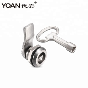 Full stainless steel quarter turn tool key cam lock for cabinet train metro door