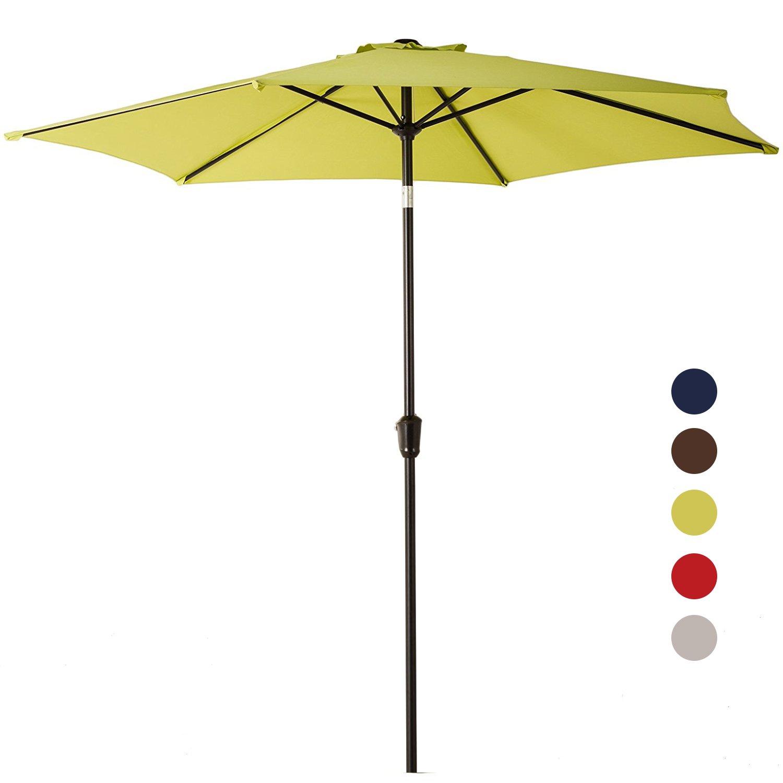 Grand patio 9FT Aluminum Patio Umbrella, UV Protective Beach Umbrella with Push Button Tilt and Crank, Powder Coated Outdoor Umbrella, LIme Green