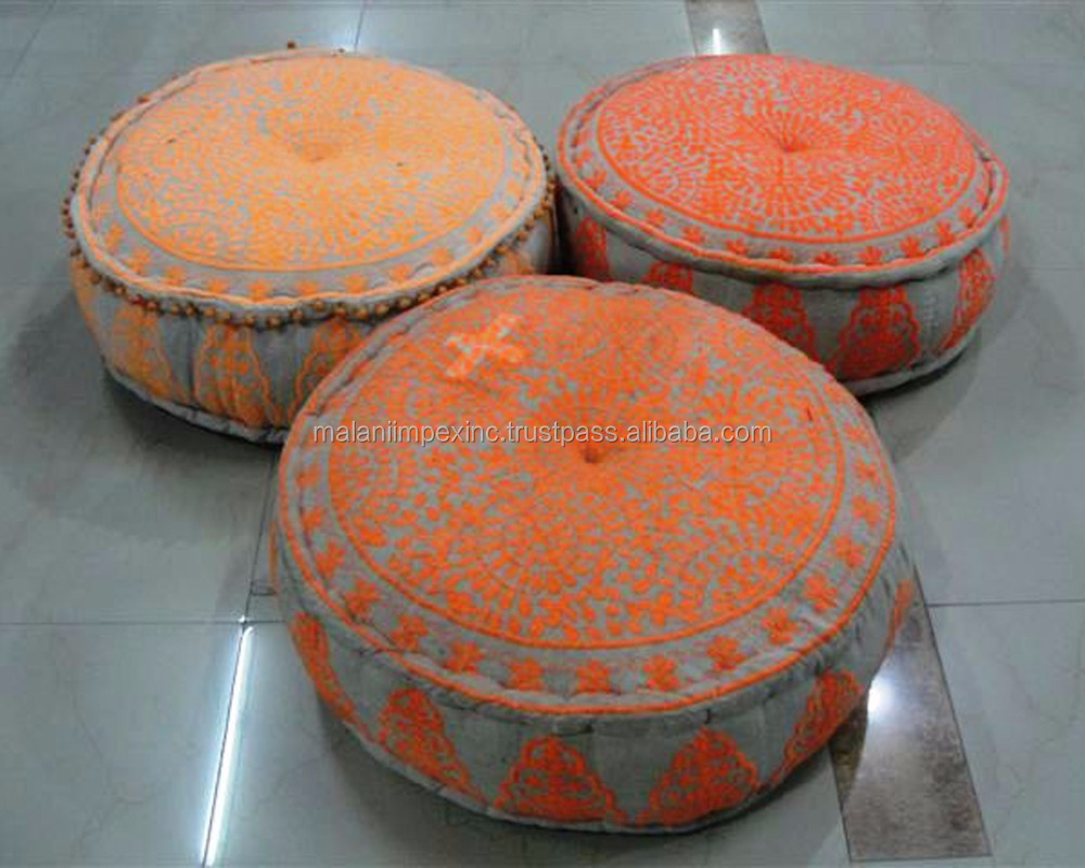USA companies selling high quality embroidered cotton fabric round pouf 24X8 inch