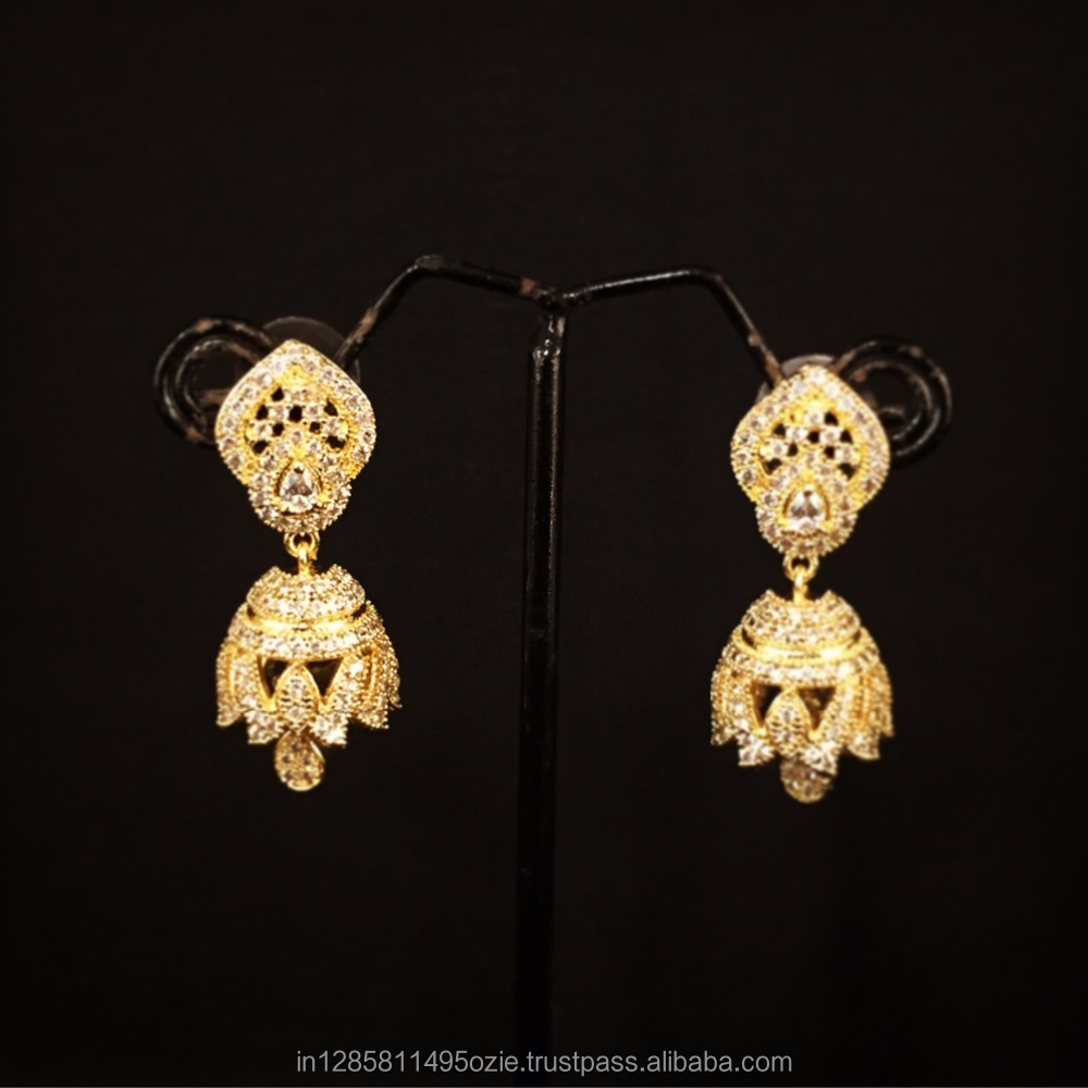 jhumka shop gold women diamond yellow product tanishq buy for earrings