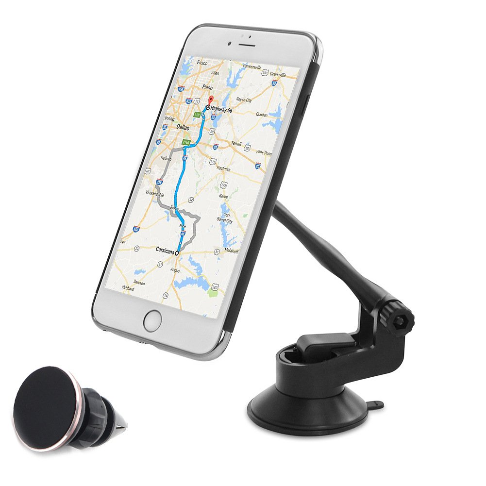 COFIT Phone Car Mount Stand with Washable Locking Suction Pad, 360°Rotation Universal for Smartphone, GPS, Mini Table - 1Pcs Magnetic Car Phone Holder, 1Pcs Air Vent Magnetic Holder