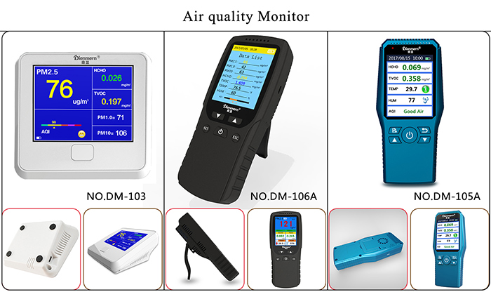 Laser dust air Quality Detector Accurate Testing with PM2.5 HCHO TVOC AQI PM1.0 PM10 TEMP HUM Time calendar alarm clock Result