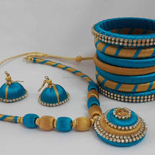 New Collection Indian Silk Thread Bangle Necklace Set Splendid Collection wholesale silk Bangles