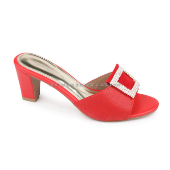womens red block heel sandals