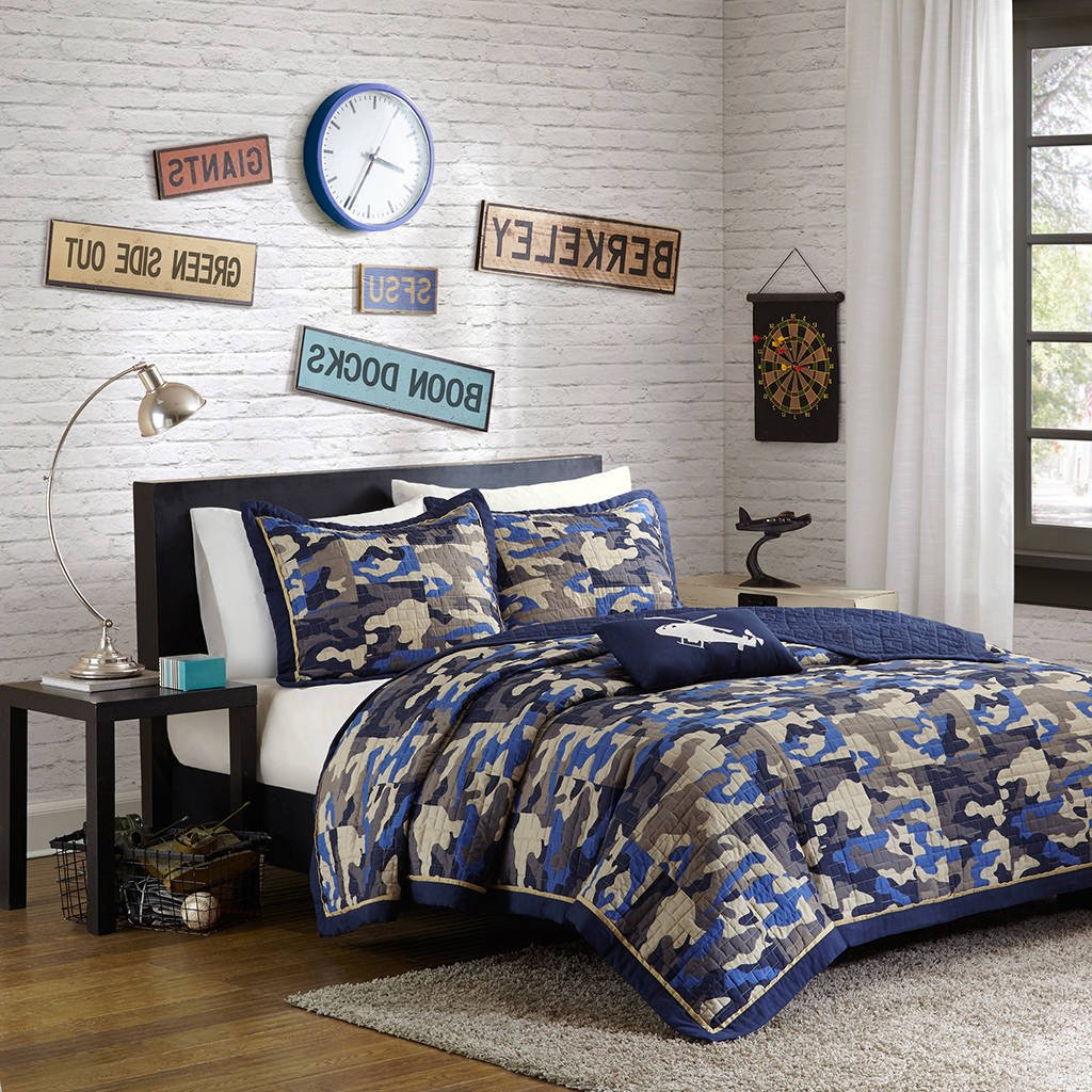 4 Piece Teen Tan Navy Royal Blue Grey Full Queen Coverlet Set, Camouflage Themed Bedding Geo Camo Helicopter Army Boys Stylish Fun Bright Colorful Bold Funky, Polyester