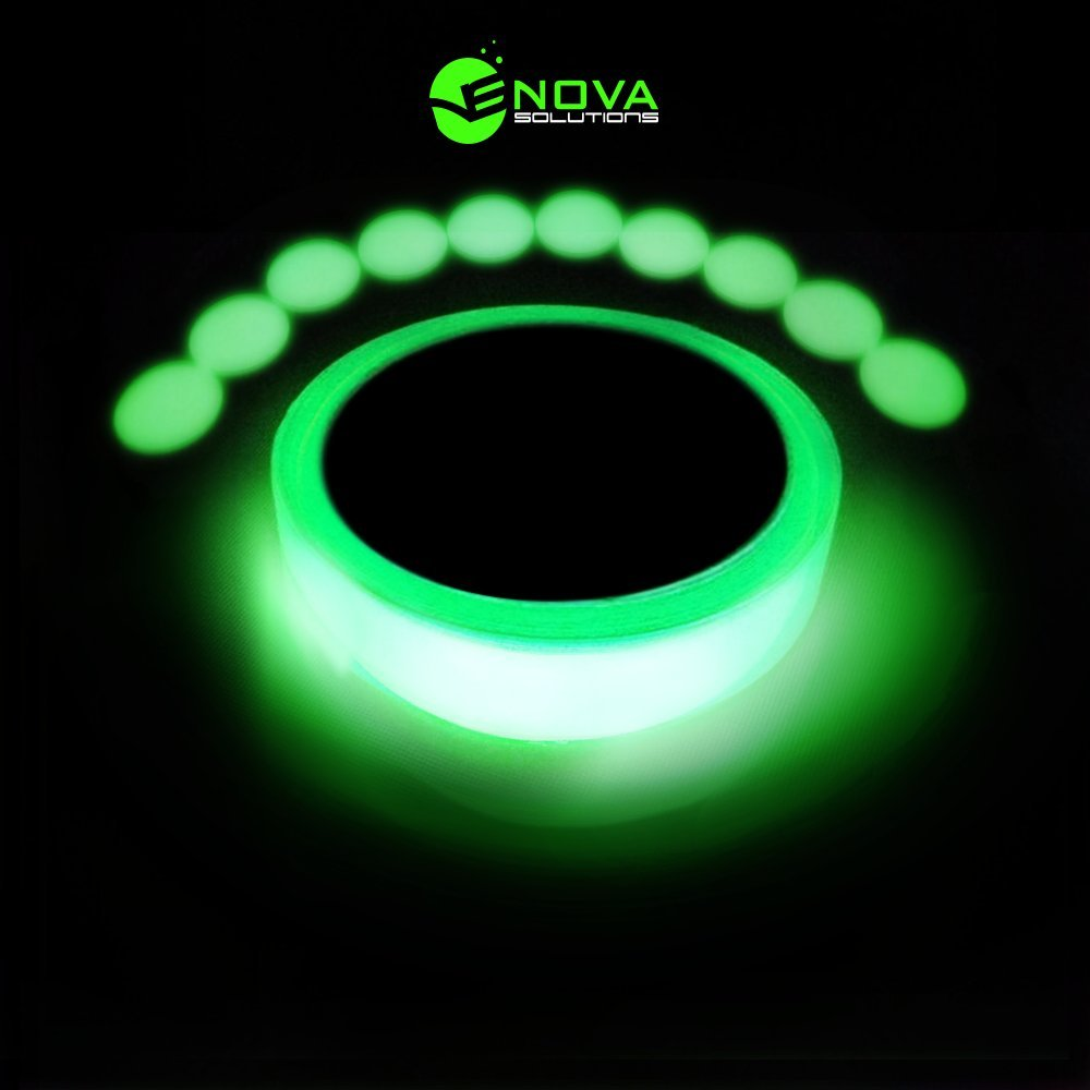 novasolutions Glow In The Dark Tape - Bright Long Lasting Premium Quality Glow Tape - 10 BONUS Glow in the Dark Dots for Hazard and General Marking - 30 ft long 1 inch wide