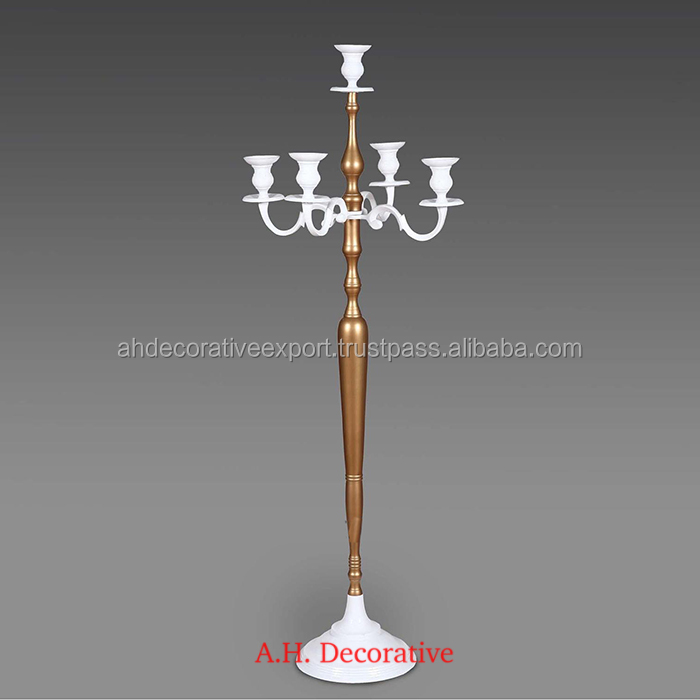 White Candelabra 5 Candle With Gold Stem