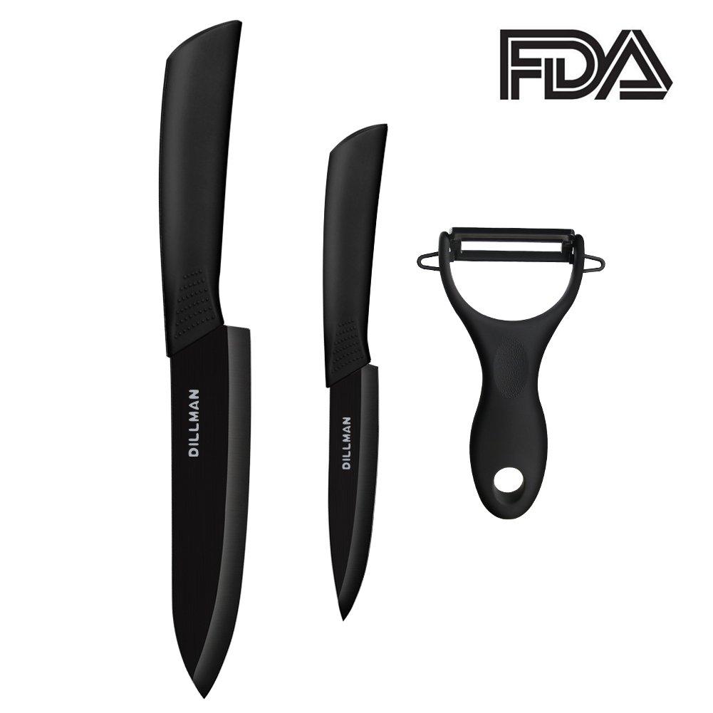 "Ceramic Knife Set 3 Pieces Black Kitchen Knife Set with Sheaths 6"" Chef Knife 4"" Paring knife Fruit Peeler Gift Box"