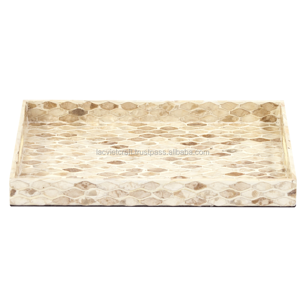 High quality best selling eco friendly rectangular tray with MOP designed inlay from Viet Nam