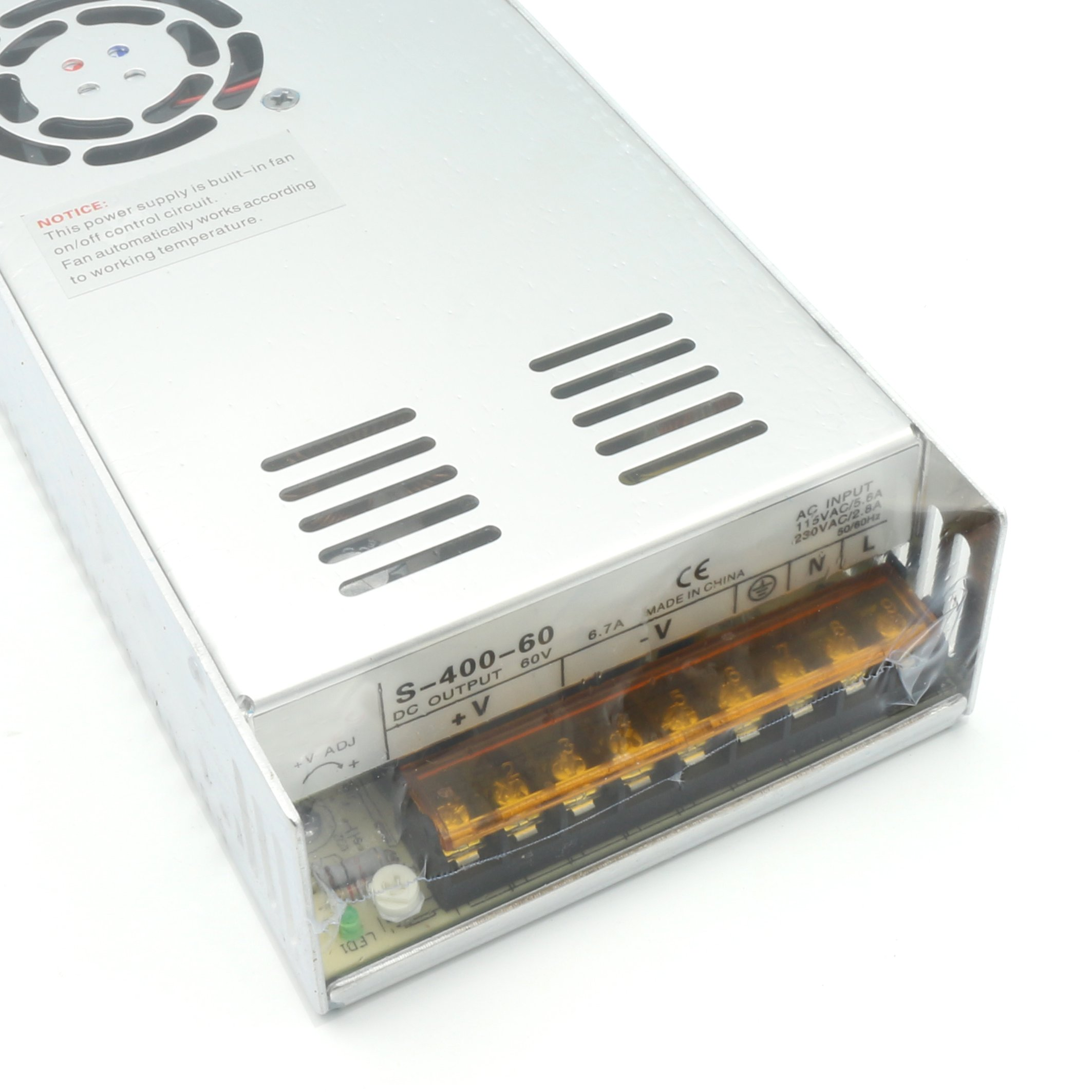 400W 60V Switch Power supply, DC power S-400-60 6.6A CNC Router Single Output Foaming Mill Cut Laser Engraver Plasma
