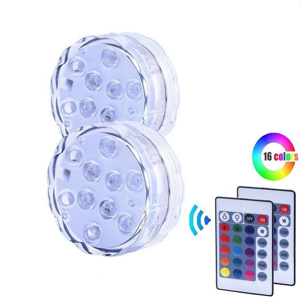 niceEshop(TM) Submersible LED Light with 24 Keys Remote Control RGB Waterproof Battery Powered Lights for Aquarium, Ponds,Vase Base, Garden, Party, Christmas (2 Pcs)