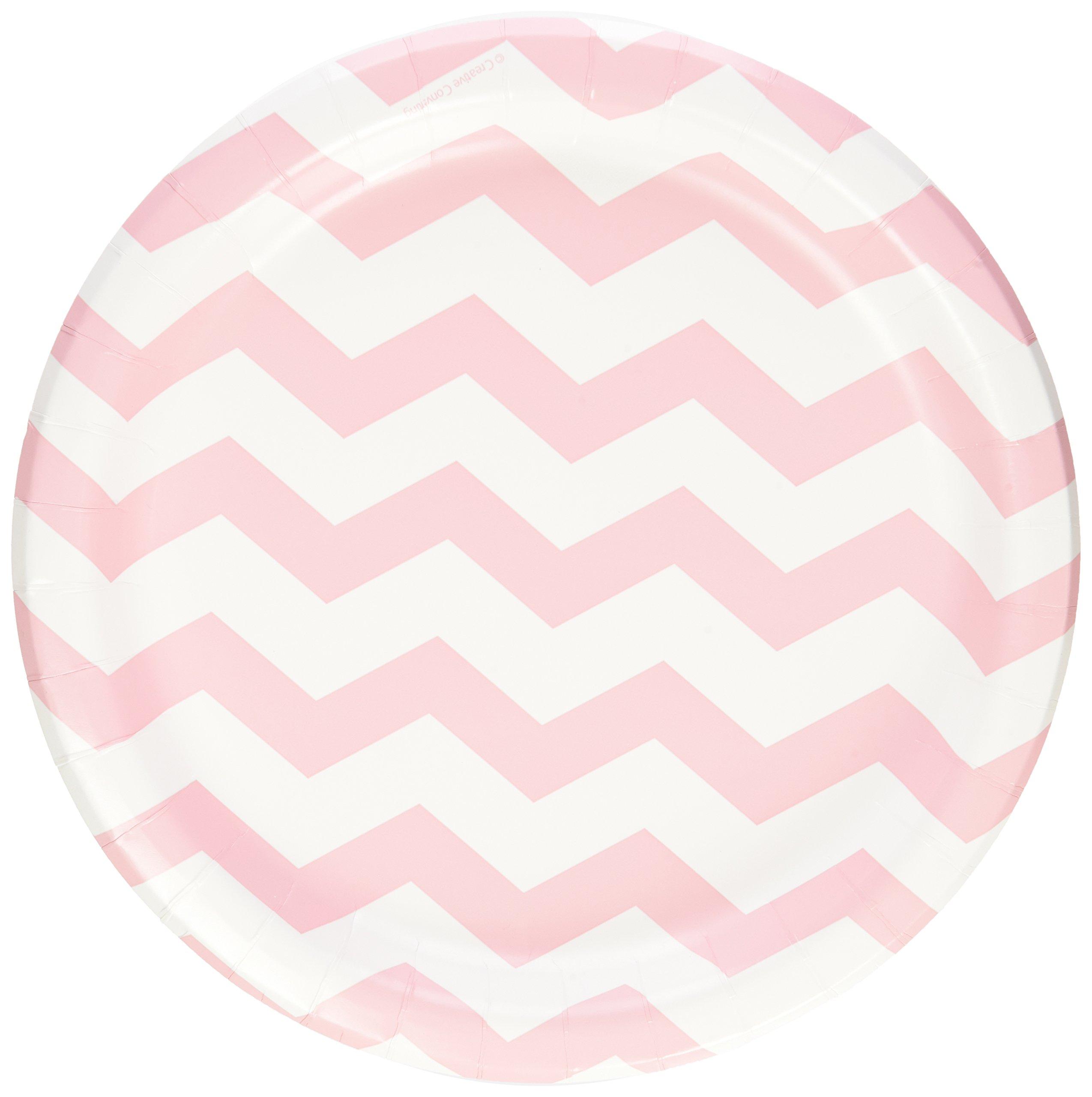 "Pastel Pink Chevron Stripe 9"" Lunch/Dinner Plates (8 ct)"