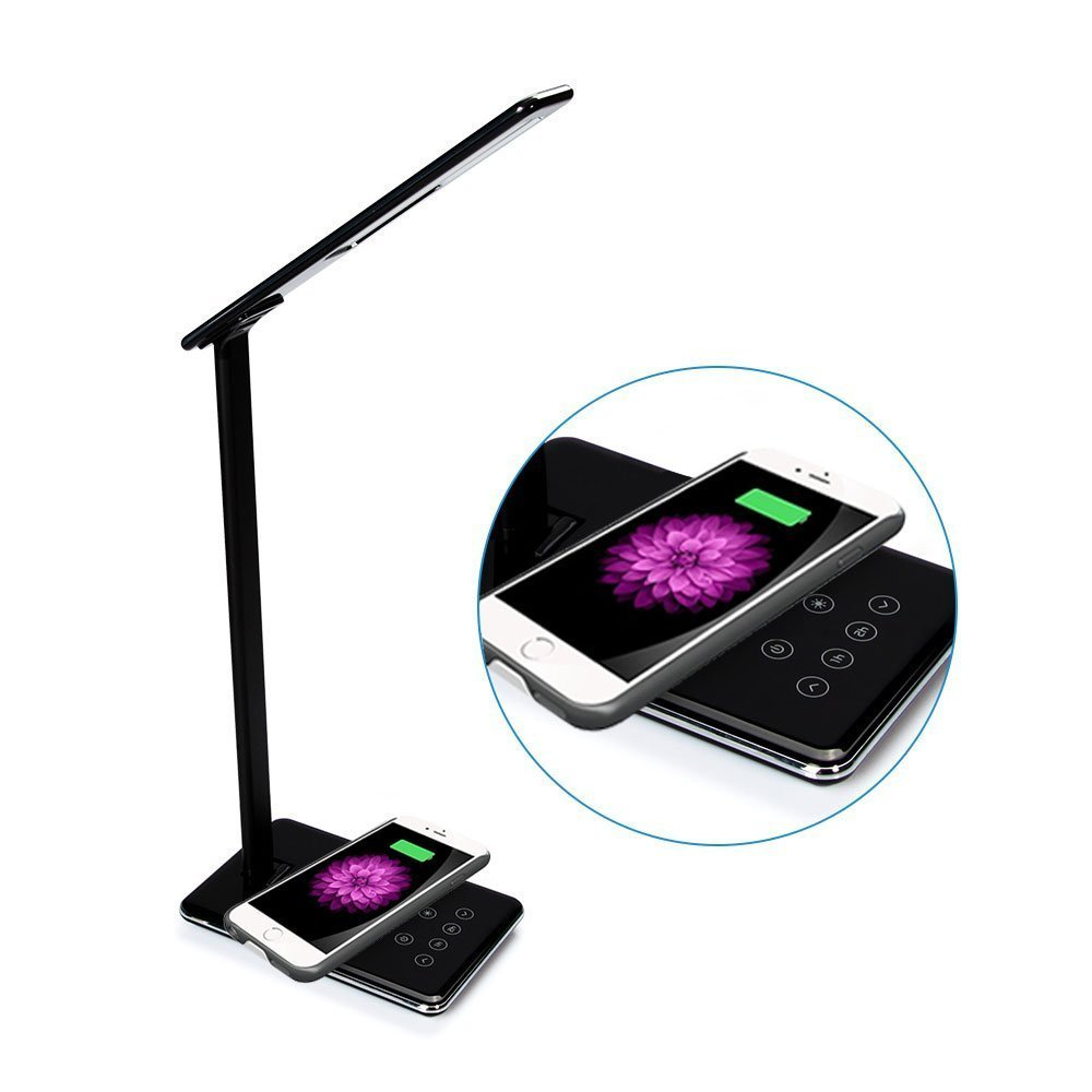 Multi-function LED Desk Lamp, OWIKAR Qi Wireless Charger Dimmable Folding Table Lamp 4 Lighting Modes5-Level Dimmer Touch Sensitive Control Nightlight Eye-Care Reading Lamp (Black)