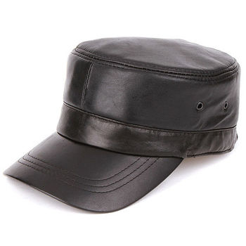 Men Leather Captain hat OEM ODM Service Factory Custom Fitted Men s Black  leather Blank Captain Hats 69b1a3872c7