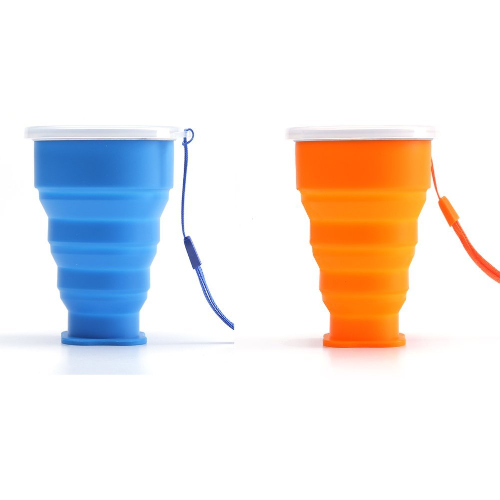 Folding Camping Cups,Portable Outdoor Mugs Telescopic Silicone Collapsible Travel Cup 200ML (Orange+Blue)